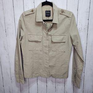 Lucky Brand Khaki Shirt Jacket Cotton Button Up